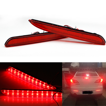 Pair LED Third 3rd Brake Light Rear Bumper Red Car Driving DRL Fog Trim Molding Tail Lamp For Mazda3 2010-2013 Axela image