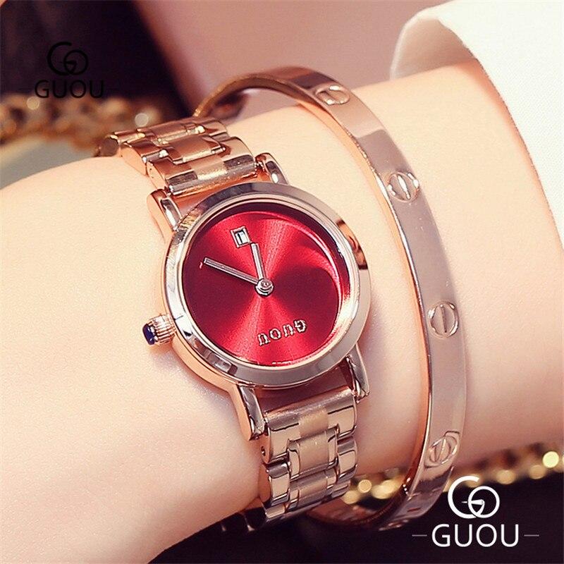GUOU Simple petit cadran femmes montres Ultra mince avec calendrier Date or Rose bracelet bande dames minimaliste montre-bracelet 8127GX