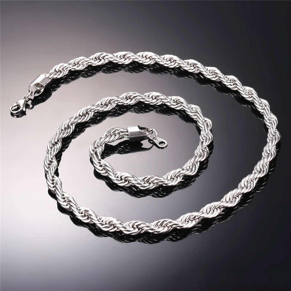 U7 היפ הופ חבל שרשרת לגברים זהב צבע עבה נירוסטה היפי רוק שרשרת ארוך/קולר חם תכשיטים n574