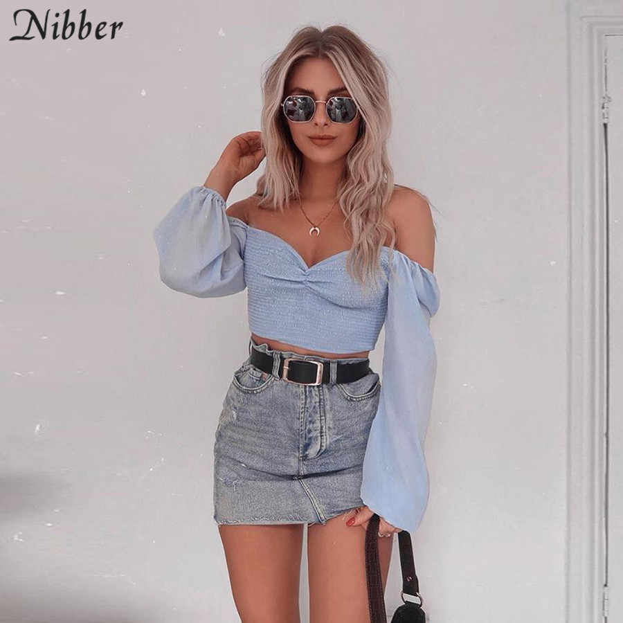 Nibber spring Romantic elegance top tshirt women off shoulder office ladies High street Beach leisure vacation tees summer mujer