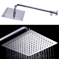 8 Inch Square SUS304 Stainless Steel And Chrome Finished Shower Head with Extension Arm Bottom Entry Rainfall Bathroom Rain