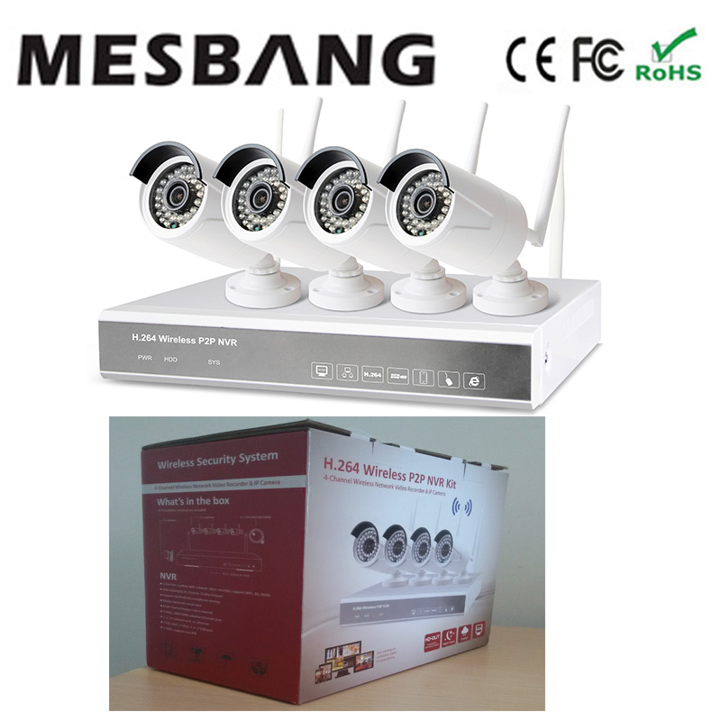 Mesbang build in 1TB HDD hard disk driver  wifi security IP camera system nvr kit 4ch 960P free shipping mesbang 720p 4ch wireless ip camera nvr kit one key to set up easy installation free shipping fast