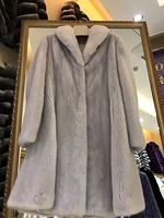 Autumn and winter American velvet mink fur violet coat free shipping