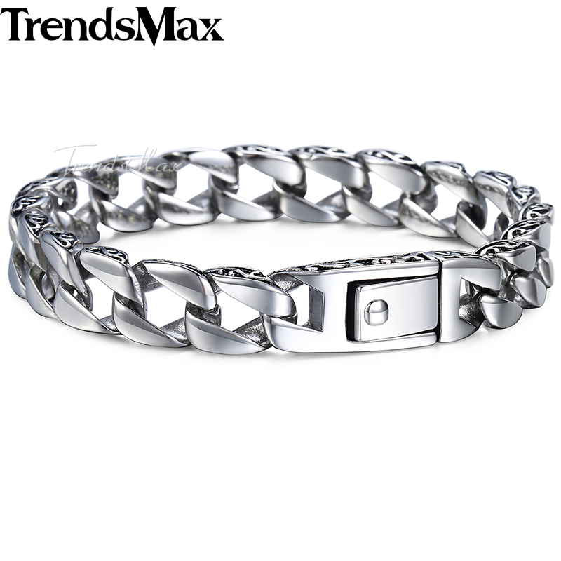 Trendsmax Fashion New Stainless Steel Charm Bracelet Men Vintage Totem Mens Bracelets 2018 Cool Male Wristband Jewelry HB30 trustylan cool stainless steel dragon grain bracelets men new arrival punk rock keel mens bracelets