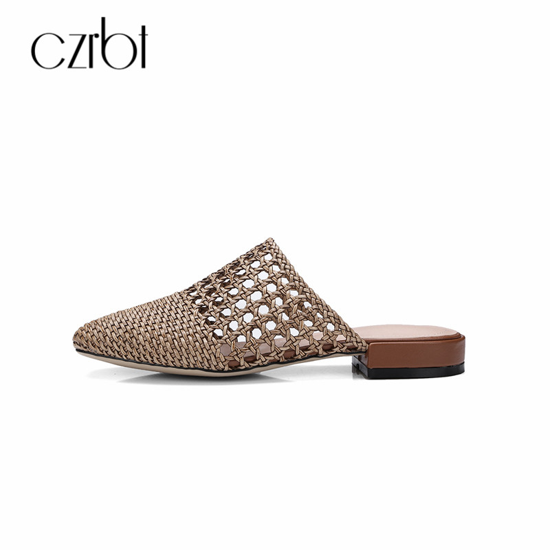 CZRBT Slippers Women Summer 2018 Hand-Woven Shoes Shallow Low Heel Plus Size Comfortable Female Casual Sandals Outside Slides цена