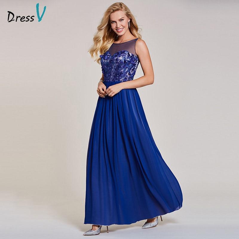 Dressv Dark Roal Blue Evening Dress Cheap Scoop Neck A Line Appliques Floor Length Wedding Party Formal Dress Evening Dresses