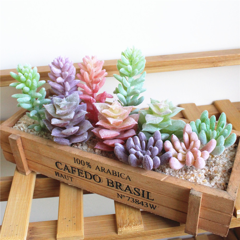 Green Pink Purple Flocking Artificial Succulents Plants Home Garden Decoration Fake Plants Desktop Bonsai Plants Cactus