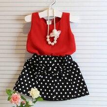 купить Children Skirt Suit Baby Girls Vest Pleated Dress Two Pieces Set Sleeveless Round Point Print Kid Skirt Sleeveless Tops Clothes дешево