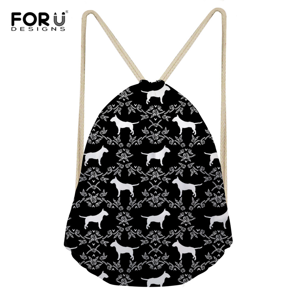 FORUDESIGNS Bull Terrier Classic Fashion Animal Girl Backpack Printing Women Travel Mochila Backpack Men's Bags Drawstring