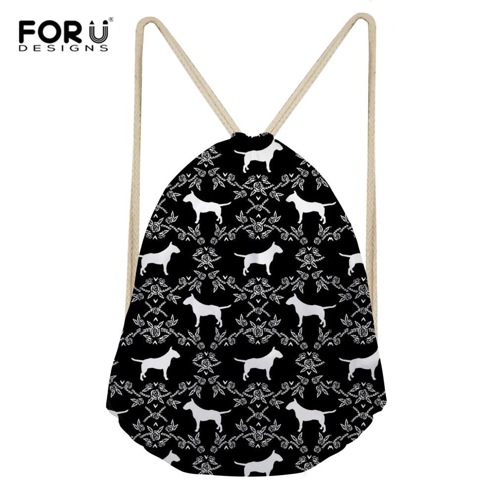 FORUDESIGNS Bull Terrier Classic Fashion Animal Girl Backpack Printing Women Travel Mochila Backpack Men's Bags Drawstring