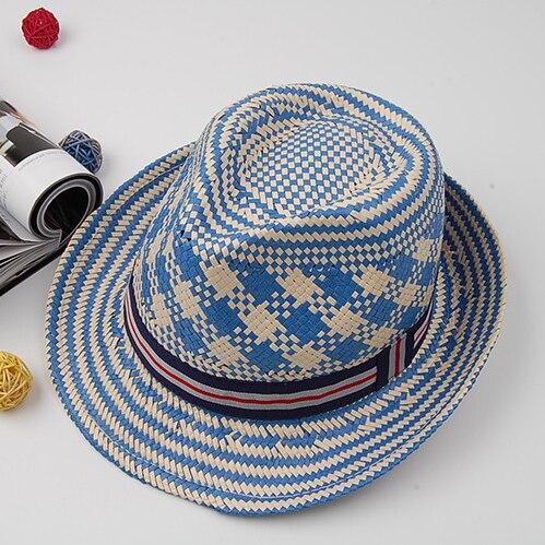 2015 Новые Моды для Женщин Синий Белый Лента Женщины Широкими Полями Sun Beach Панама Chapeu Мужской Ковбой Мужские Лето Голубой Бумаги Fedora
