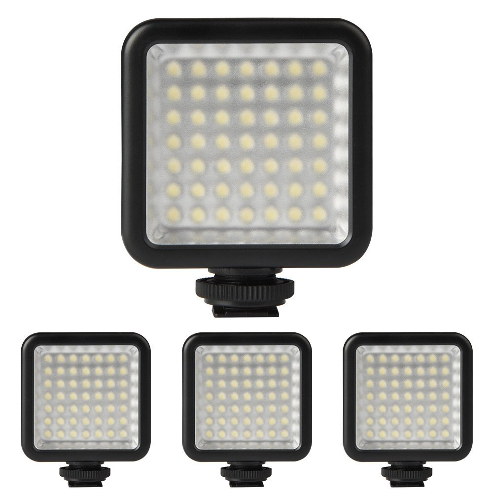 4X Mini DC 3V 5.5W 49 LED Video Camera Light Panel Lamp 6000K for Canon DSLR Camera Camcorder DVR DV