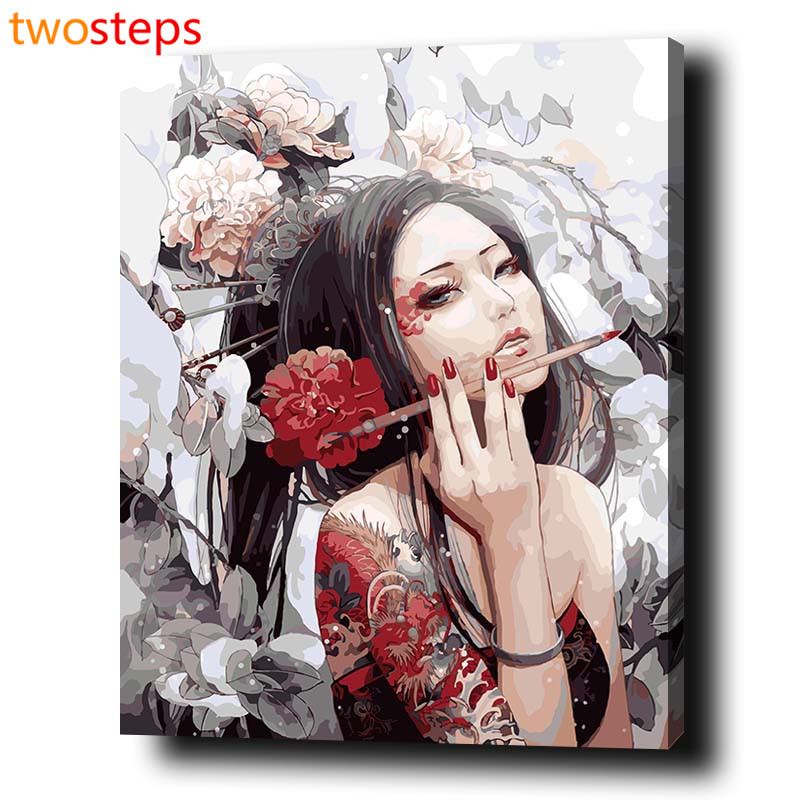 TwoSteps DIY Digital Canvas Oil Painting By Numbers Pictures Coloring By Numbers Modern Acrylic Paint By Number Glamorous Beauty