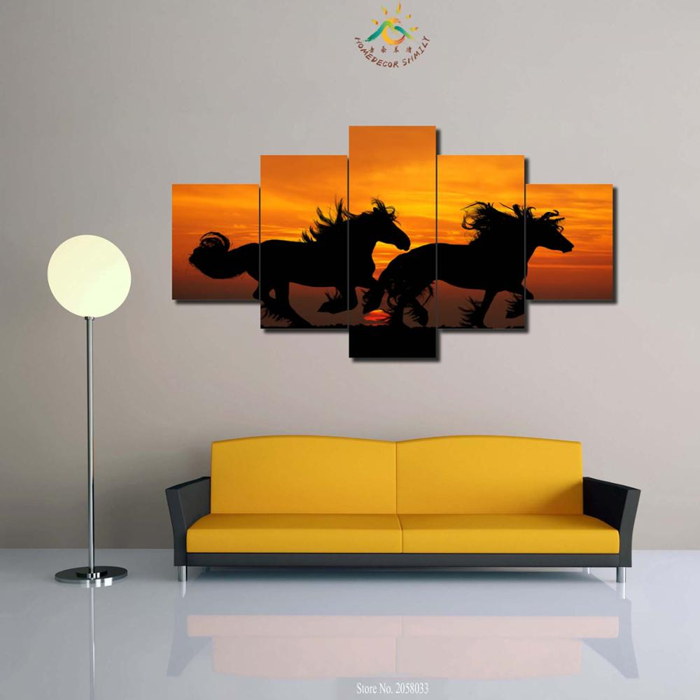 3-4-5 Pieces Black Horse in Sunset Wall Art Pictures Canvas Painting Printing Canvas Painting HD Painted Wall Picture
