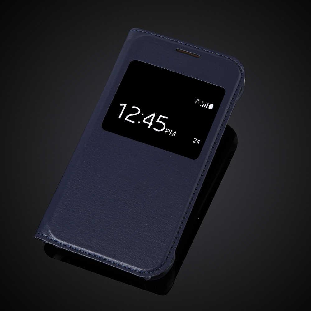 الفاخرة رقيقة جدا عرض نافذة الوجه جلدية جراب هاتف جلد لسامسونج غالاكسي J1 Nxt/J1 mini (2016) J105 J105H J105F SM-J105H