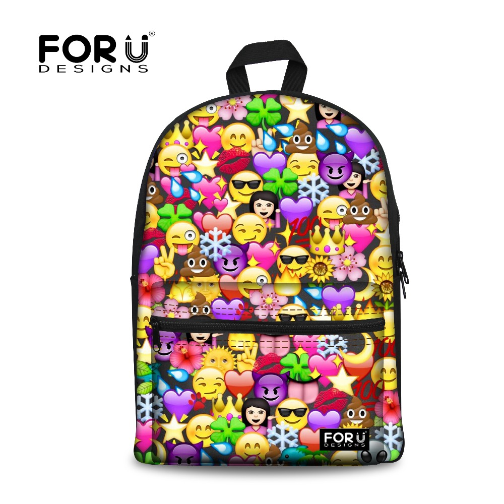 FORUDESIGNS Backpack Women Funny Emoji Face Printing Cool ...