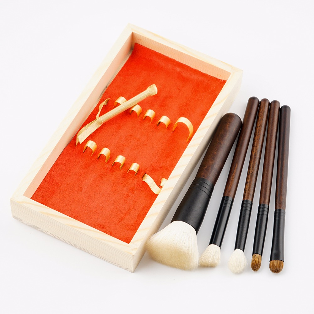 GUJHUI 5pcs High-End Wool Makeup brushes set High Quality Goat Hair Professional Makeup Artist Brush Tool Kit with Wooden Box 5 pcs blue hot high quality professional makeup brush set makeup kit for face care free ship