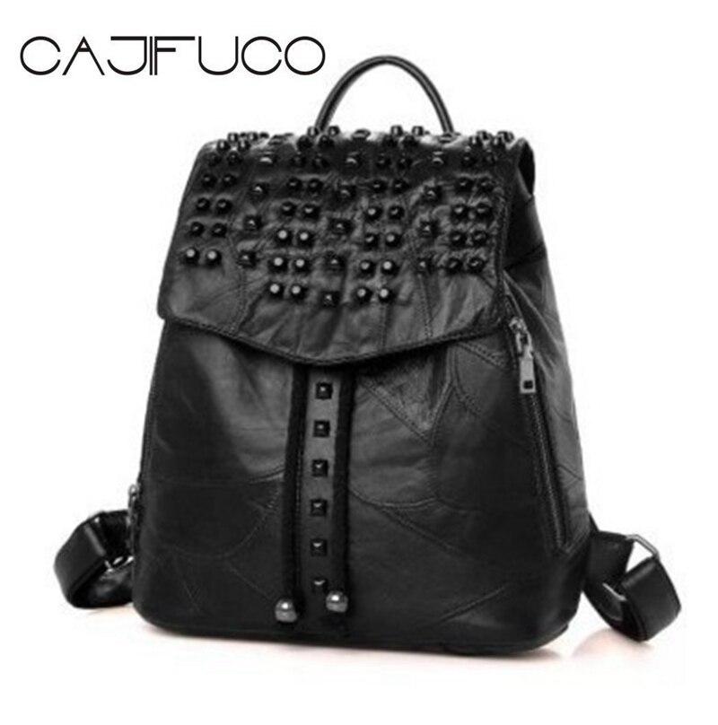 CAJIFUCO Casual Genuine Leather Backpack Black Rivet Lambskin Large Studded Shoulder Bag Girl Hasp School Bag Sac A Main n a hasp