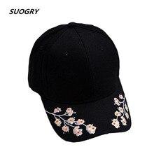 SUOGRY Cap Women Black Pink Baseball Cap Women Black Flowers White Caps Embroidery недорго, оригинальная цена