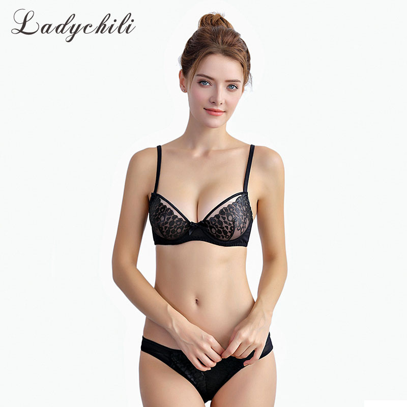 c98f2bf2da6 Ladychili Women Intimates Sexy French Bra Set Black Transparent Underwear  Set No Padded Ultra Thin Lace