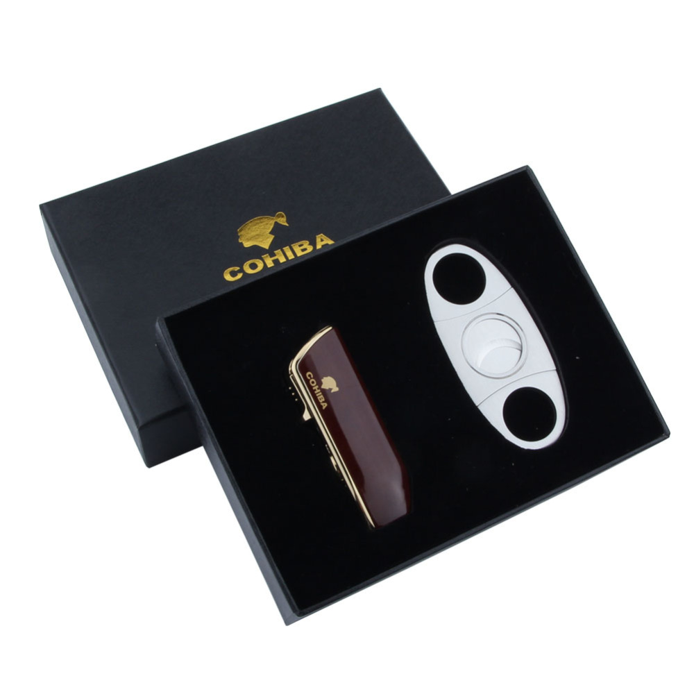 COHIBA Brown JET FLAME Cigarette Lighter and Stainless Steel Cigar Cutter  Portable Cigarette Cigar Suit With a Gree Gift Box