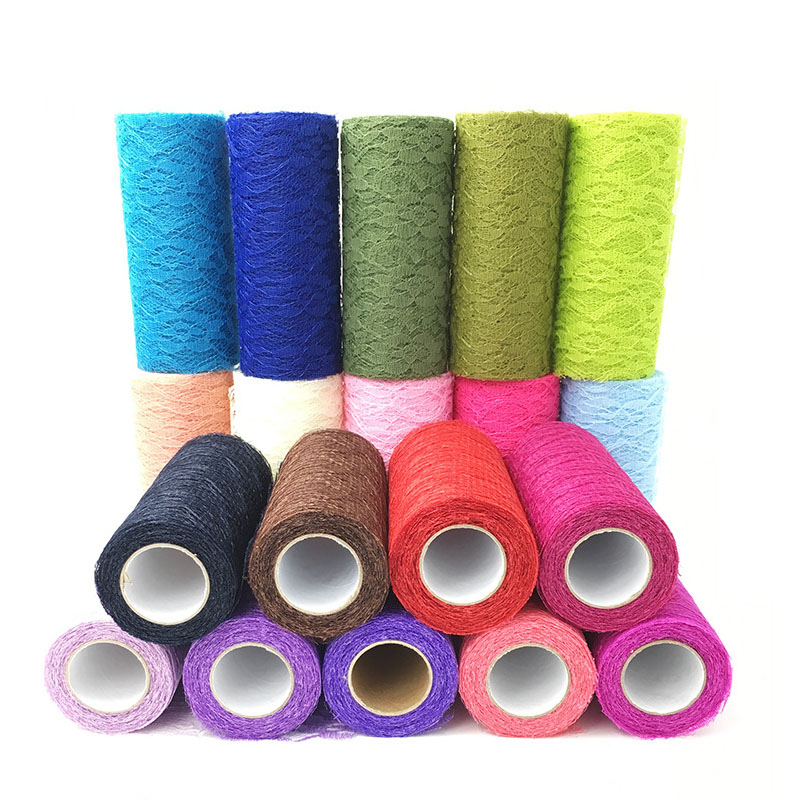 Yarn Roll Tablecloth Lace Rolls Crystal Tulle 10 yards Organza Sheer Gauze Element Wedding Wedding Table Decoration