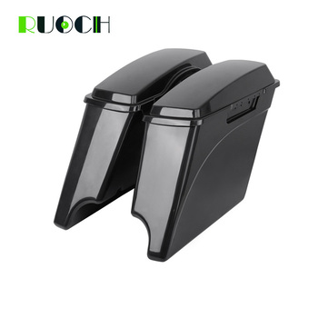 """Unpainted 5""""Stretched Extended Hard Saddlebags Saddle Bag Trunk For Harley Touring Road King Electra Glide Road Glide 2014-2019"""