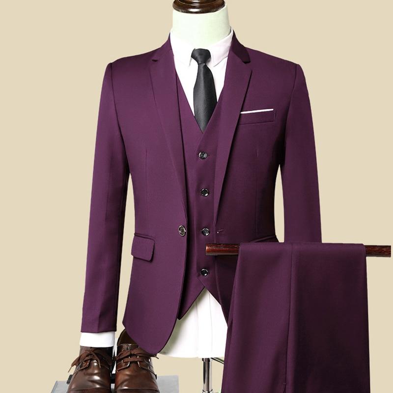 Sensfun Terno Man Suit Blazers Business Coat One Button Groom Wedding Party Jacket+Vest+Pants Suits sets costume homme mariage