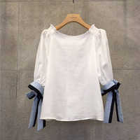 Korean 2019 Summer Cotton Casual Shirts New Female Pinned Butterfly Cuff Loose One-word Collar Shirts Elegant Women Shirts
