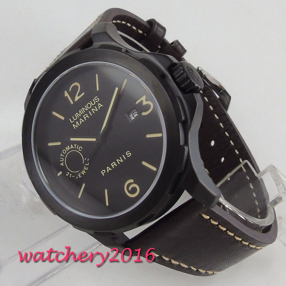 44mm parnis Black Dial Sapphire Glass Brushed PVD coated 21 jewels Miyota Automatic Movement mens Watch relogio masculino 44mm parnis Black Dial Sapphire Glass Brushed PVD coated 21 jewels Miyota Automatic Movement mens Watch relogio masculino