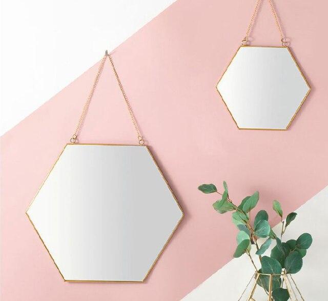 Nordic Creative Minimalist Geometric Makeup Mirror Gold Brass Hexagonal Mirror Creative Fashion Round Vanity Mirror Q423