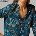 Summer Irregular Hem T Shirts Women Shirt Flower Printed Top Long Sleeved Blusas Feminina V Neck Floral Roupas Lady Clothes S173
