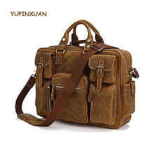 YUPINXUAN Luxury Handmade Vintage Cow Leather Briefcases for Men Crazy Horse Leather 16″ Laptop Handbags Retro Men Brief Cases