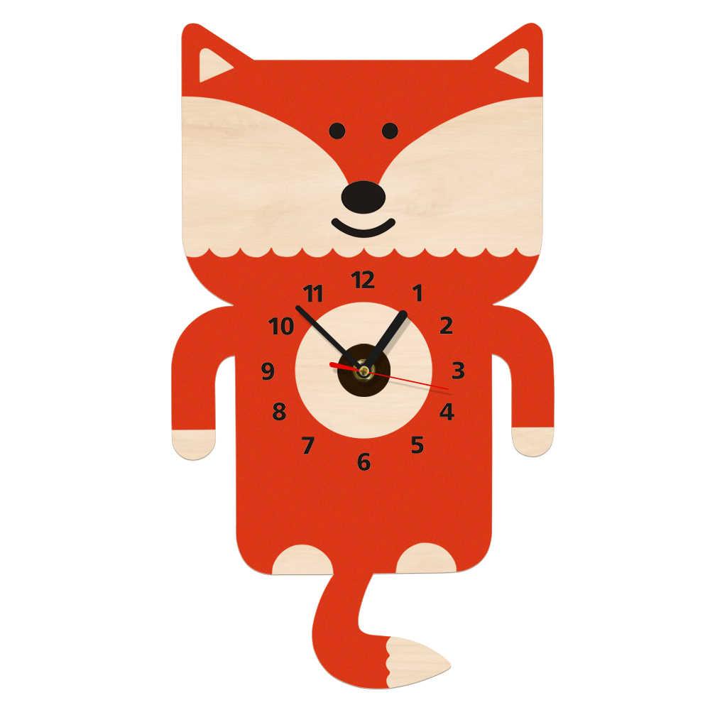 Adorable Fox Wall Art Wooden Wall Clock With Tail Pendulum Woodland Animal Nursery Decorative Modern Wall Watch Fox Loveer Gift Aliexpress