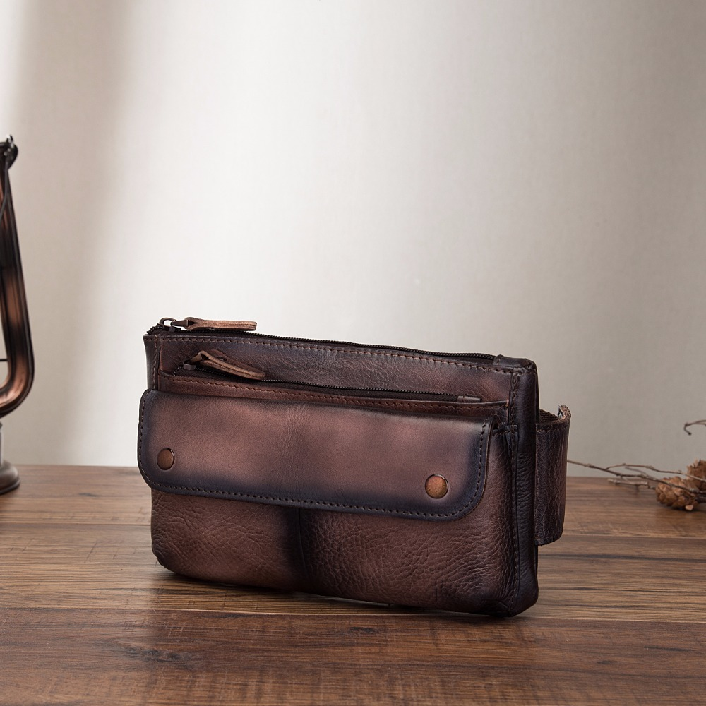 e801bfc829f US $22.36 48% OFF|Real Leather men Casual Design Waist Belt Bag Chest Pack  Fashion Cowhide Waist Phone Cigarette Case Pouch 8136c-in Waist Packs from  ...