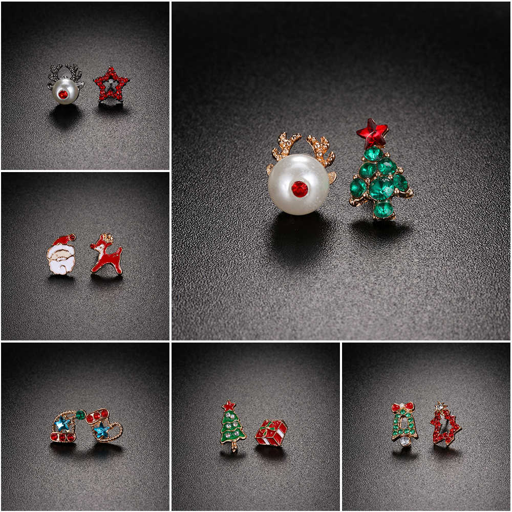 Christmas Jewelry Accessories Earrings Cute Santa Claus Snowman Lovely Tree Bell Romantic Christmas Gifts for Women Girls Kids