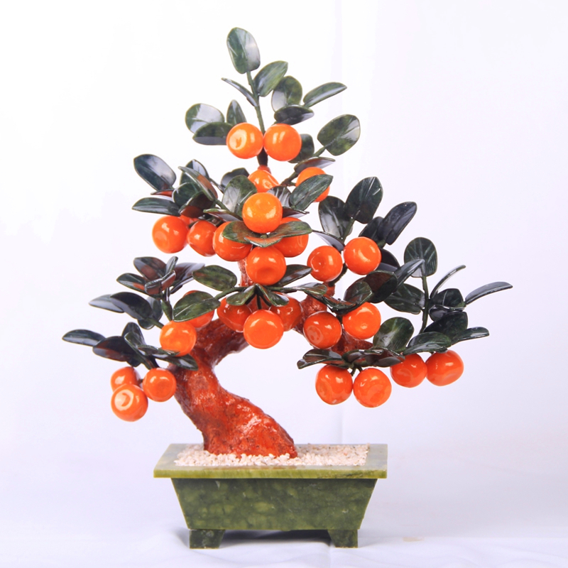 Jade pot 28 small orange tree living room TV cabinet decoration Home Furnishing jewelry gift the most favorable auspices jingdezhen lang jun kiln ceramics antique red censer living room decoration decoration gift home furnishing