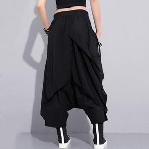 Image 4 - [EAM] 2020 New Spring High Elastic Waist Black Fold Bandage Stitch Loose Long Cross pants Women Trousers Fashion  JF897