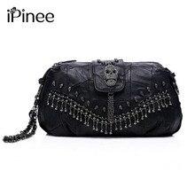IPinee Neue 2017 Berühmte Designer-marke Taschen Frauen Echtem Leder Handtaschen Schädel Niet Tasche