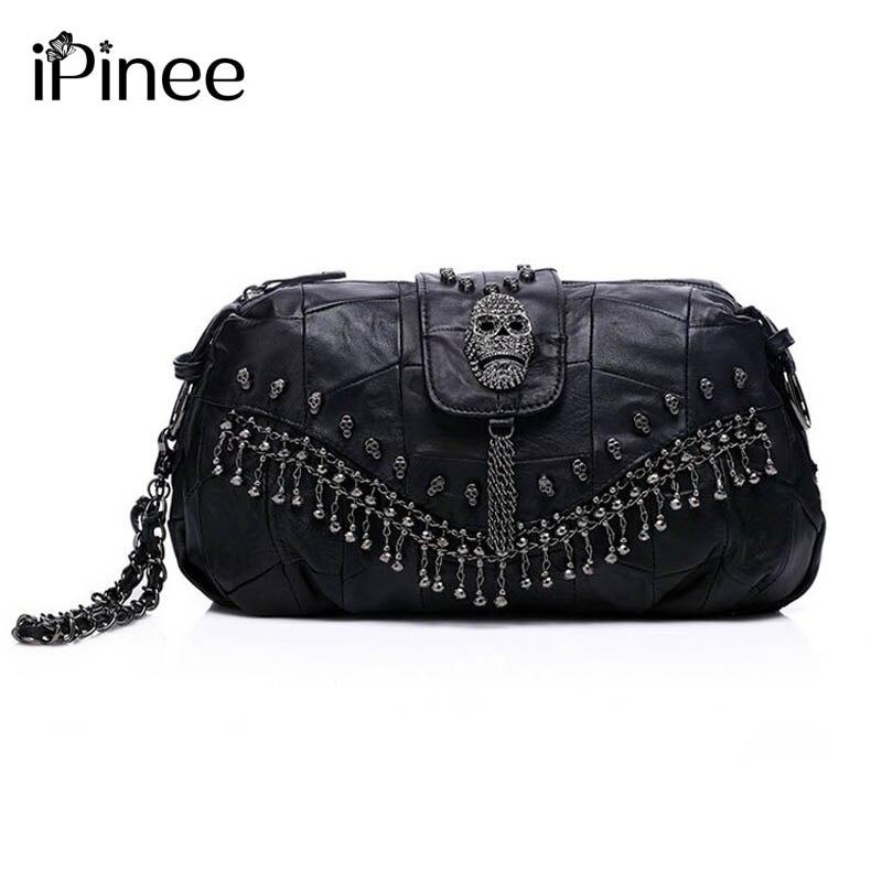 iPinee új 2018 híres tervező márka táska női valódi bőr kézitáska Koponya szegecs táska