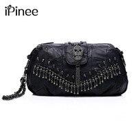 iPinee New 2018 Famous Designer Brand Bags Women Genuine Leather Handbags Skull Rivet Bag