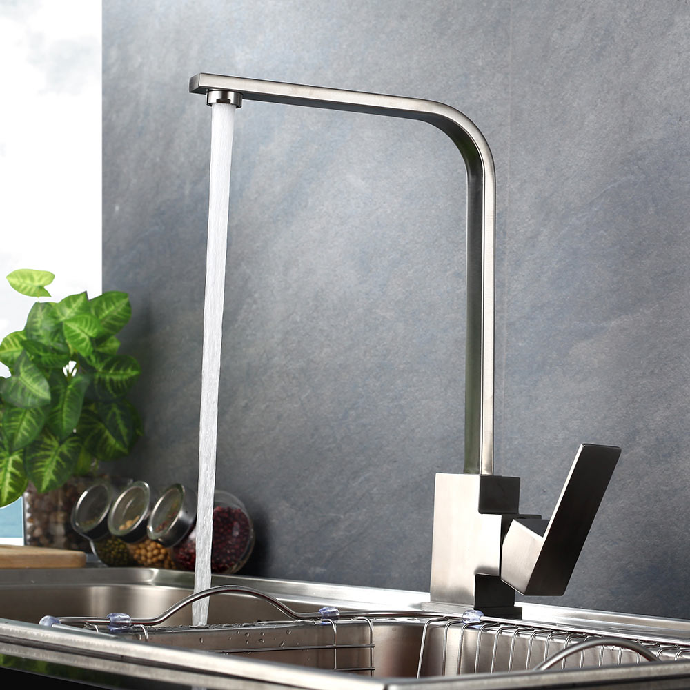 Contemporary Kitchen Faucet Brushed Nickle SUS 304 stainless steel Faucets Spool Mixer Water Tap Hot And Cold Double Control цена