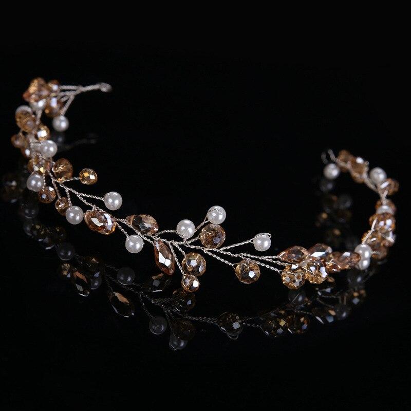 Bridal & Wedding Party Jewelry Diamante Crystal Faux Pearl Wedding Tiara Headband Crown Wreaths Elegant In Style