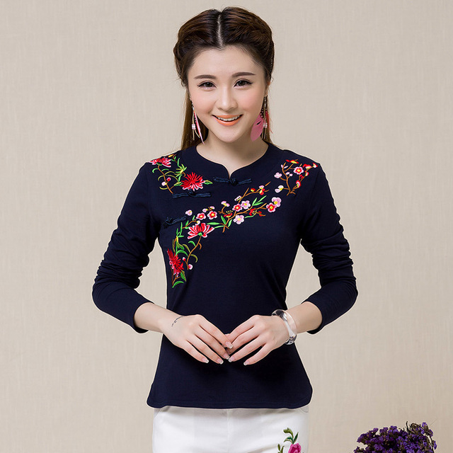 Classic Autumn New Stand Collar Long Sleeve Embroidered Flowers Slim Large Size Casual T Shirt Women Fashion