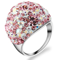Unique Fashion Multicolor Stainless steel  Austrian Crystal Engagement Wedding Rings