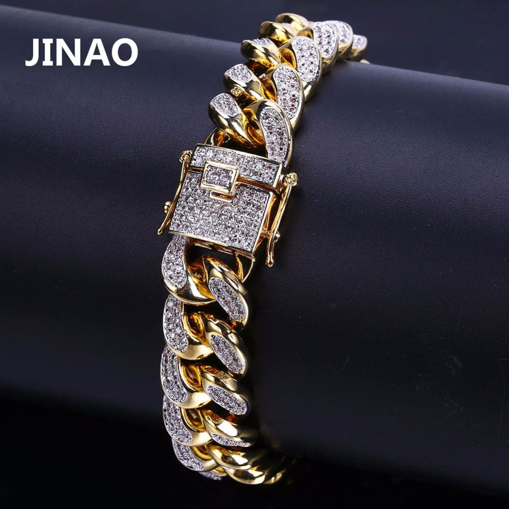 JINAO 2018 New Style Men Hip Hop Jewelry Bracelet Copper Gold Color Plated Iced CZ Stone
