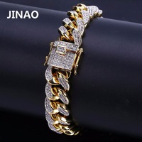 JINAO 2018 New Style Men Hip Hop Jewelry Bracelet Copper Gold Color Plated Iced CZ Stone 14mm Chain Bracelets With 7 8 Gifts