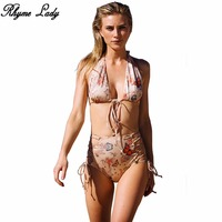 Rhyme Lady Backless Bikini Set Brazilian Ruffle Bandage Women Swimwear Bathing Suit Push Up Beach Wear