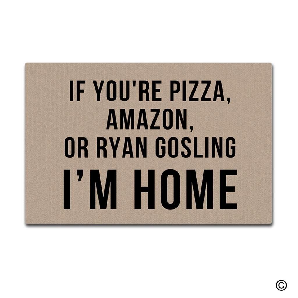 paillasson tapis de sol d'entrée si vous êtes pizza, amazon, ou ryan