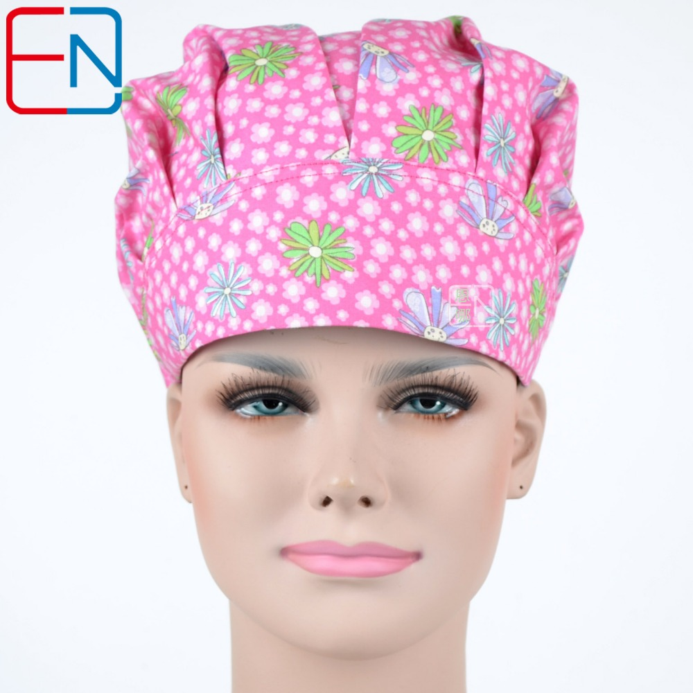 Hennar Womens Caps Top Quality Brand Bouffant Medical Doctor Scrub Caps For Nurse Printing Hospital Operation Surgical Caps Mask